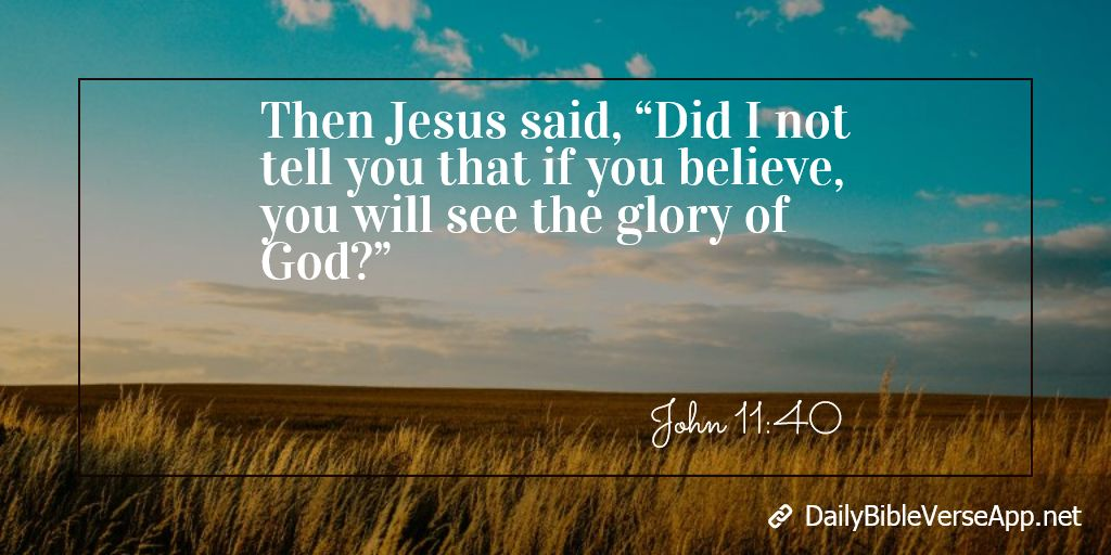 "Then Jesus said, ""Did I not tell you that if you believe, you will see the glory of God?"""