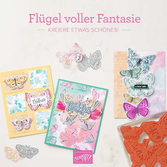 3 Grußkarten mit gestanzten Schmetterlingen