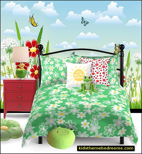 daisy bedding garden bedroom decor iron bed garden wallpaper mural apple table lamp frog pillows flower pillows  garden bedroom decor garden bedroom decorating ideas