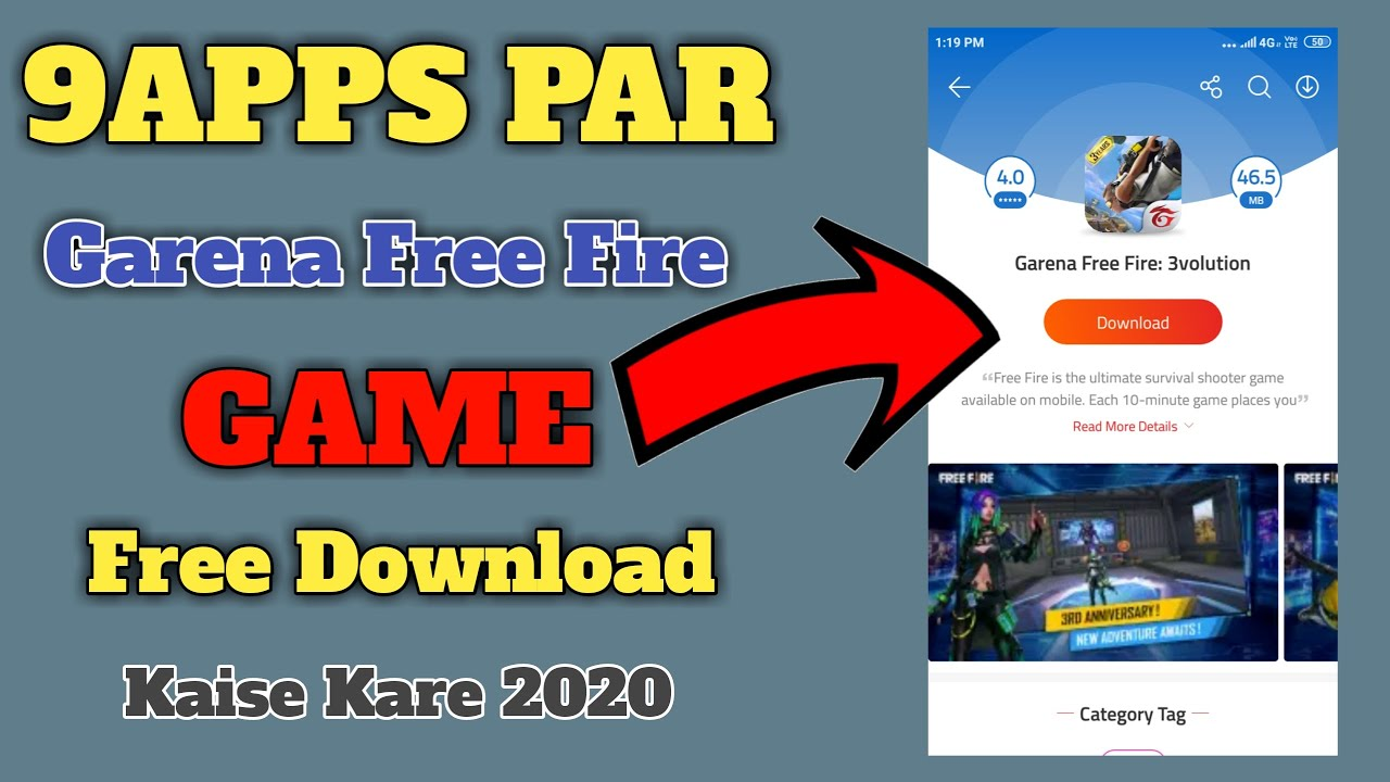 How To Garena Free Fire Games 9apps Par Download Kaise Kare 2020