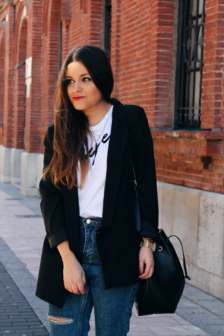 outfit americana jeans negra blog moda leon