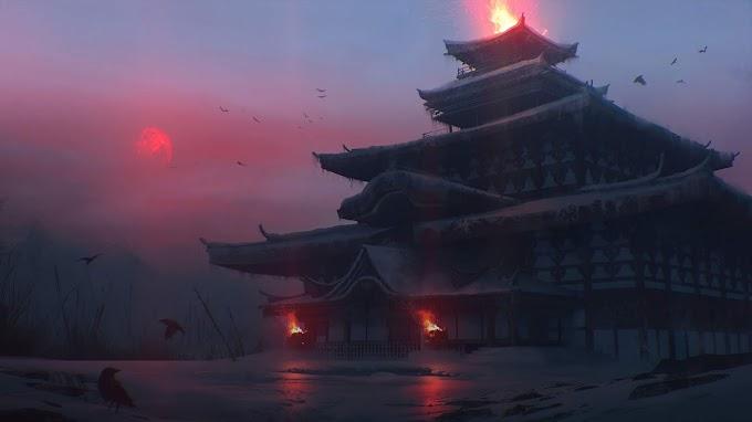 Templo, Japonês, Fantasia, Arte