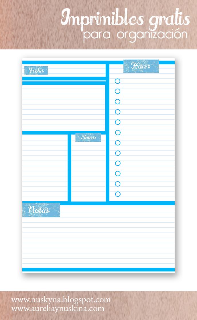 Imprimibles gratis organización. Planificador diario para descargar gratis.
