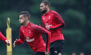 Krunic e Duarte durante l'allenamento del Milan di ieri 23 Settembre.