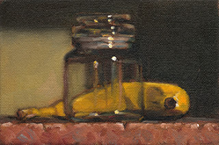 Still life oil painting of a banana beside a small glass jar.