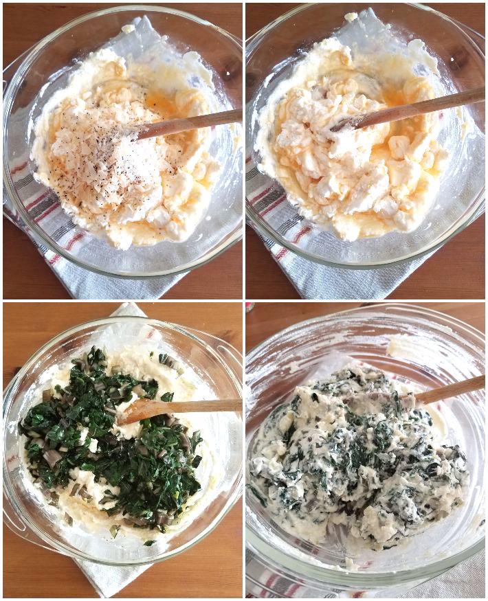 Preparación del relleno de ricota y acelgas para la tarta