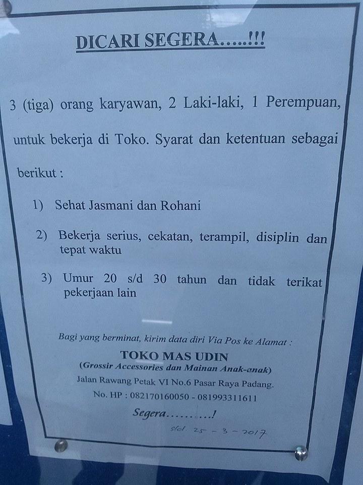 Lowongan Kerja di Padang – Toko Mas Udin – Karyawan (Closed 25-3-2017)