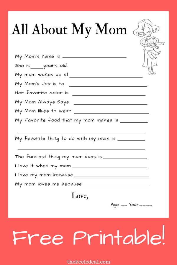 All about my mom free printable template