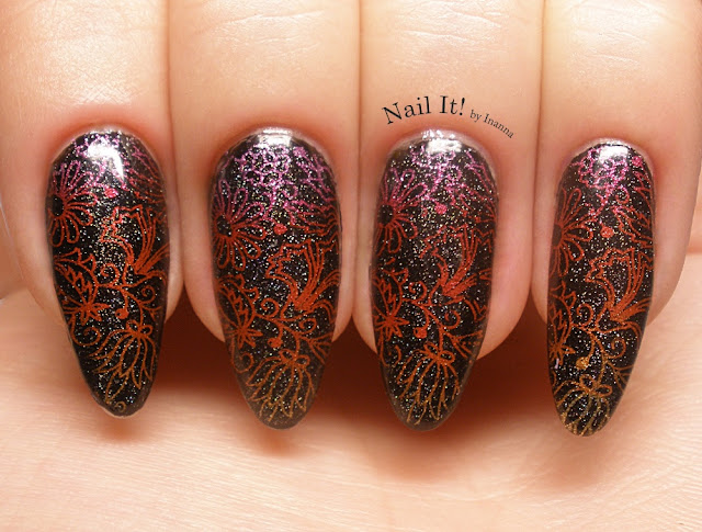 "Kwiecisty gradient / Floral Gradient -  B. Loves Plates Stamping Nail Polishes from ,,Let's Fall in Love"" Collection review"