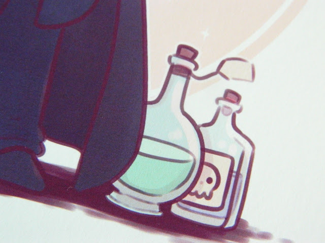 a photo showing a snippet of an art print by Naomi Lord, featuring two potion bottles. One has a skull on the label.