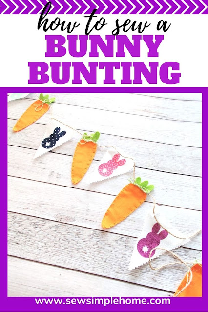 Create your own spring bunting with this free bunny applique pattern and cute carrot bunting.