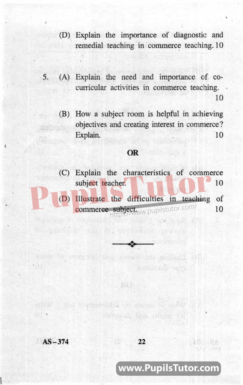 Pedagogy Of Commerce Question Paper In English