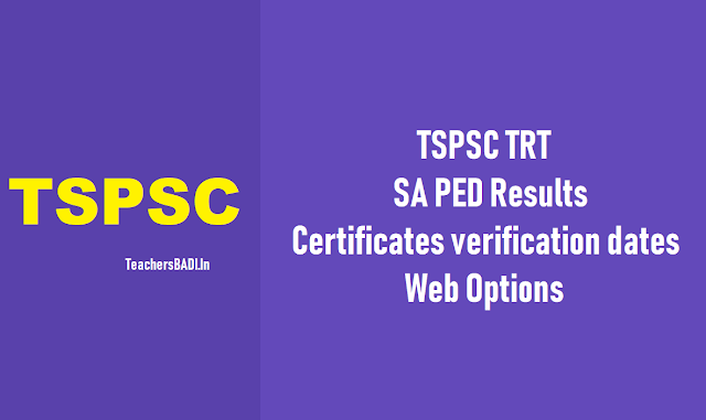 tspsc trt sa ped results,certificates verification dates,web options 2018,school assistant physical education selection list results,web options entry dates