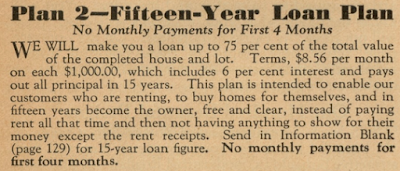 sears mortgages financing plan