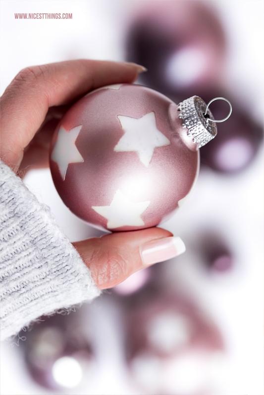 Weihnachtskugeln DIY Sprühfarbe Stencil Sterne Metallic Rose