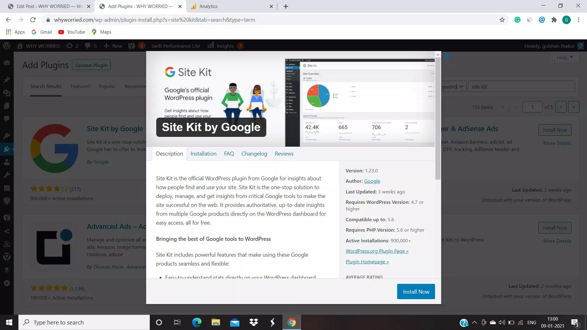 image of google site kit plugin in WordPress plugins area