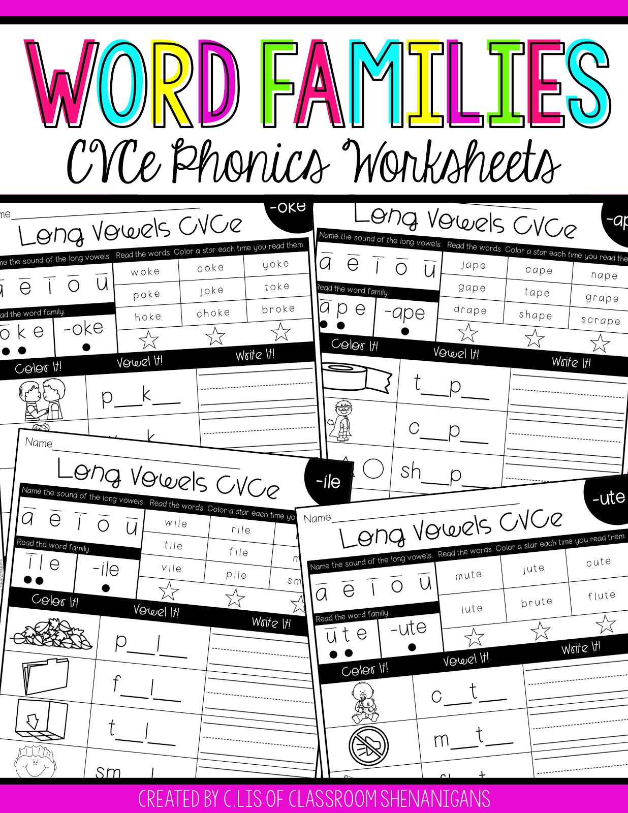 Free Cvce Phonics Worksheets