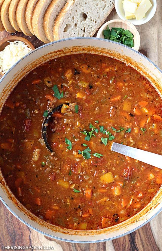 Easy Ground Beef & Vegetable Soup Recipe (Gluten-Free, Grain-Free & Dairy-Free)