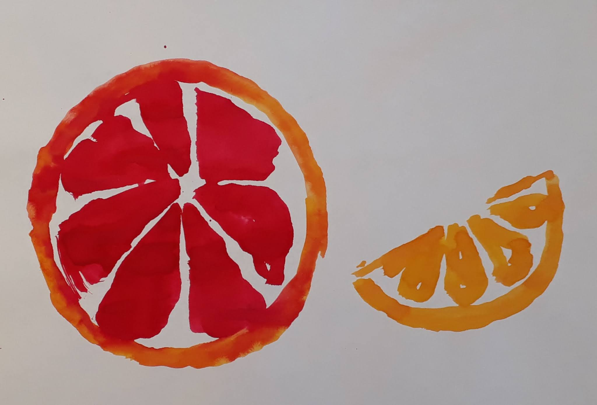 Greippi ja appelsiinilohko vesivärimaalaus