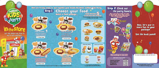 Jollibee party package brochure front