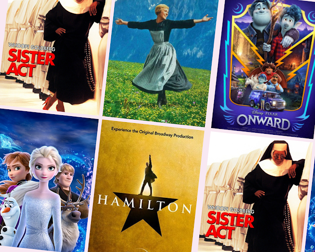collage - Sister Act, Frozen 2, The Sound of Music, Onward, Hamilton