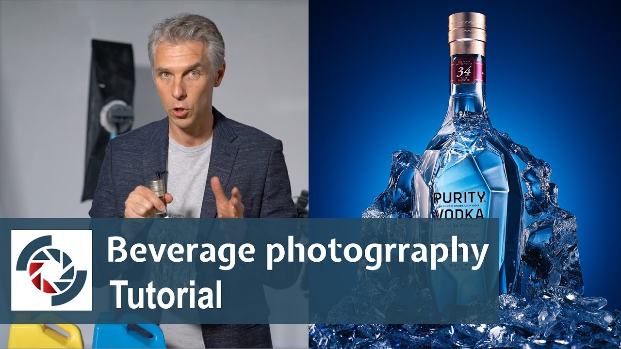 How to photograph a glass bottle beverage with four lights
