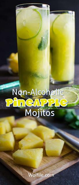 Non-Alcoholic Pineapple Mojito Recipe #Healthy #Drink #Mojitos