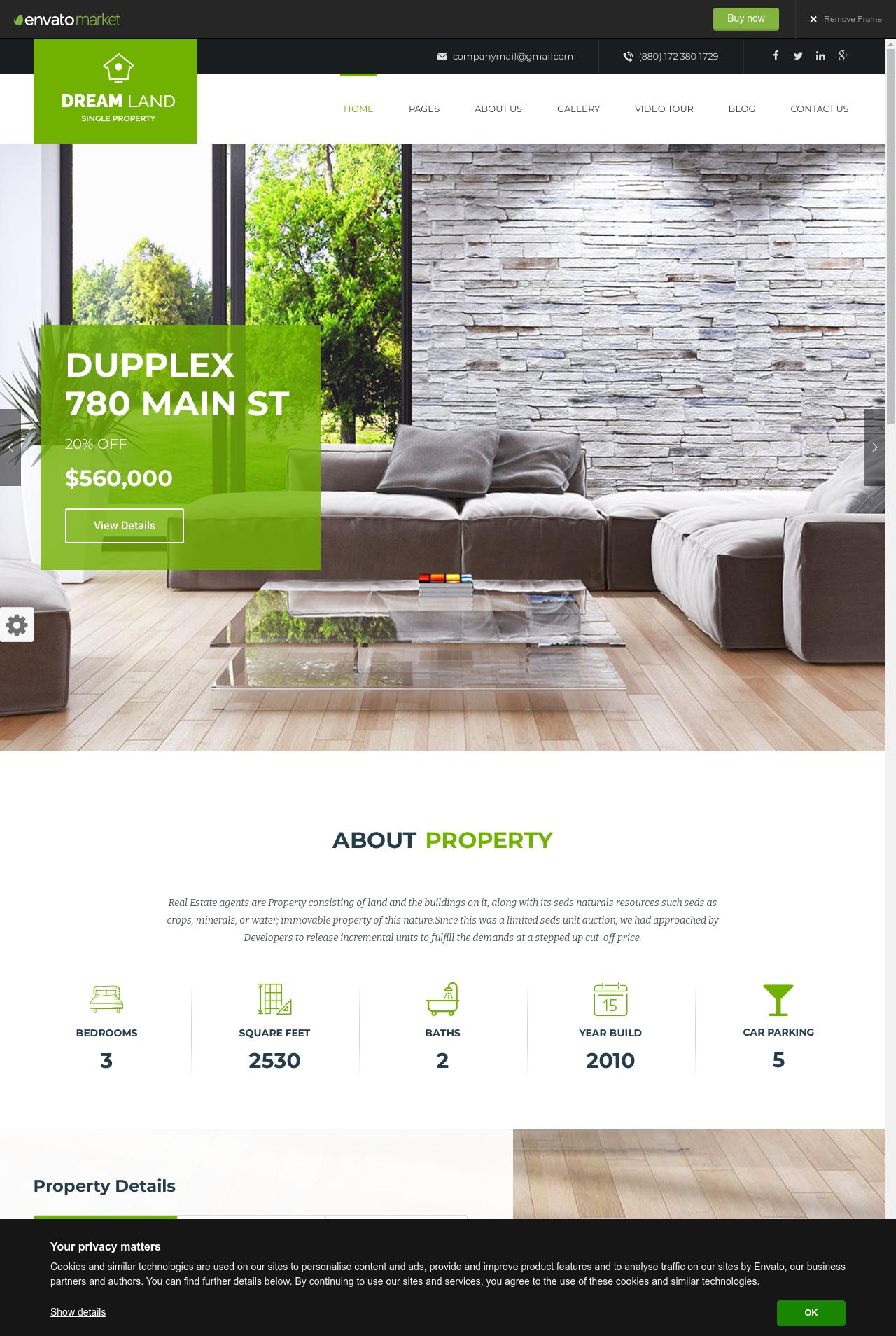 DREAM LAND Single Property Real Estate WordPress Theme