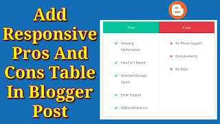 How To Add Responsive Pros And Cons Table In Blogger Post