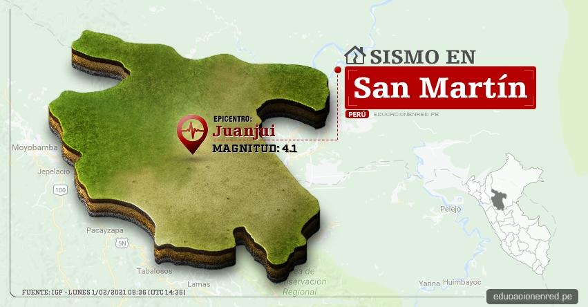Temblor en San Martín de Magnitud 4.1 (Hoy Lunes 1 Febrero 2021) Sismo - Epicentro - Juanjui - Mariscal Cáceres - IGP - www.igp.gob.pe