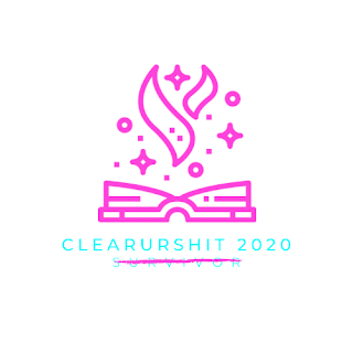 "A pink line-drawing of an open book with flames over words in teal reading ""Clear Ur Shit 2020"" with ""Survivor"" below it crossed out."