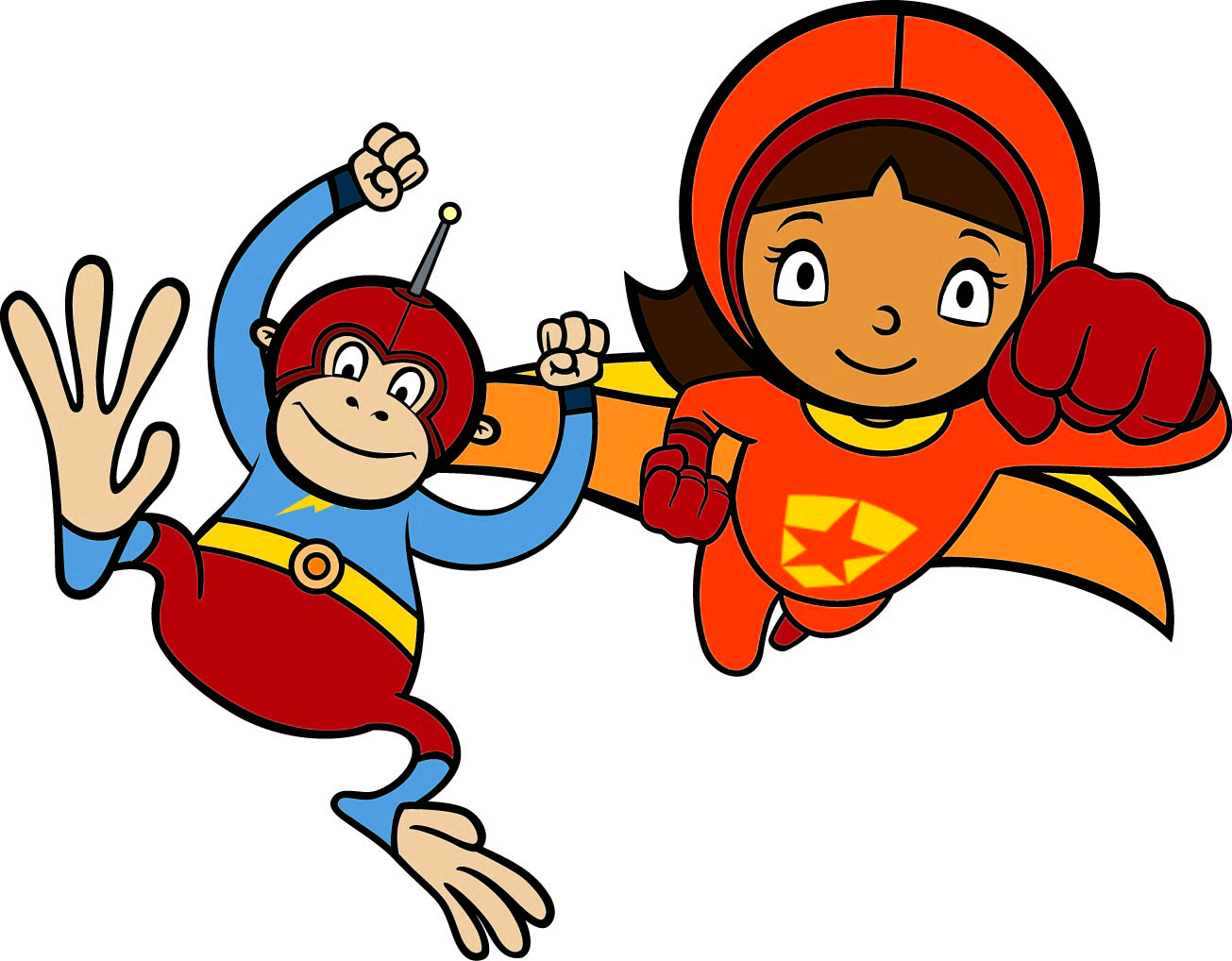 Image of WordGirl flying and Captain HuggyFace jumping