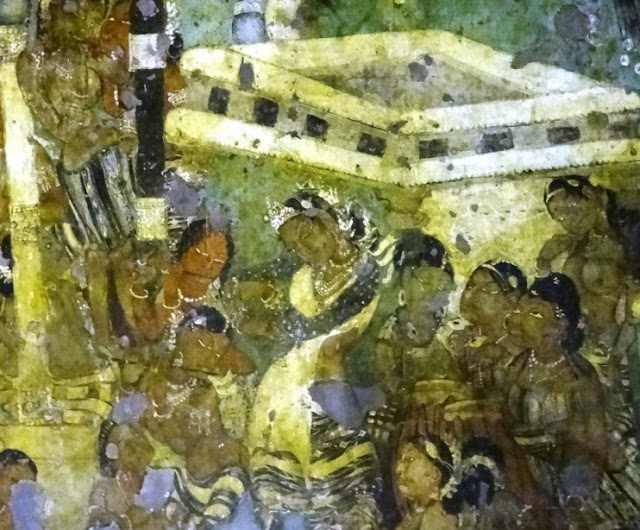 Ajanta cave painting 2-  Janaka Jataka - The dancing girl of Ajanta