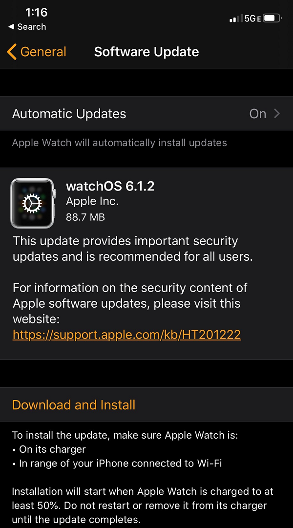 Apple watchOS 6.1.2 Features Changelog
