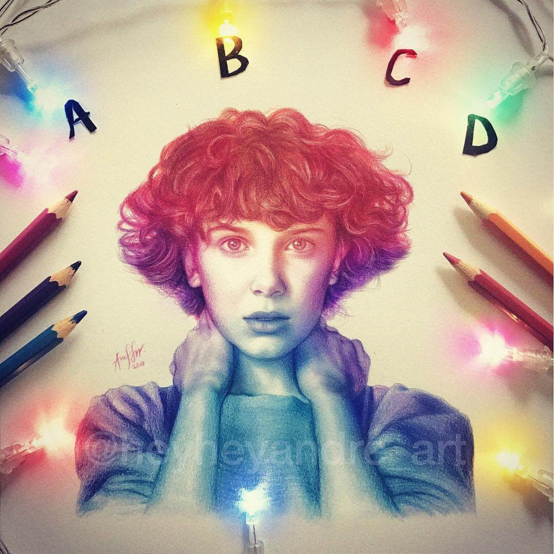 08-Eleven-Stranger-Things-A-Manguba-Drawings-of-Celebrities-and-the-Zodiac-www-designstack-co