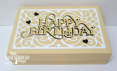 ODBD Custom The Giving Box Dies, ODBD Custom Happy Birthday Caps Die, ODBD Custom Clouds and Raindrops Dies, Gift Box Designed by Angie Crockett