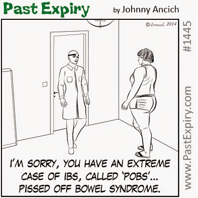 This a cartoon about Extreme Irritable Bowel Syndrome. Under category of  health, illness, bathroom,  and