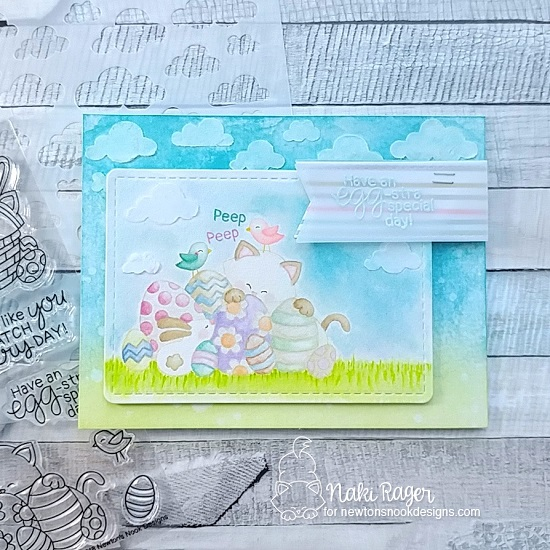 Easter Cat Card by Naki Rager | Newton's Easter Basket & Cloudy Sky Stencil by Newton's Nook Designs #newtonsnook #handmade