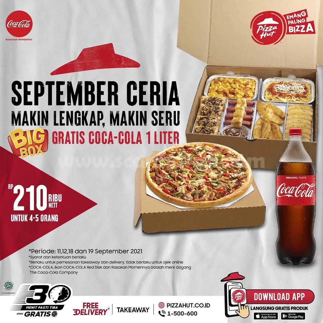 Promo PIZZA HUT Beli BIG BOX GRATIS Coca Cola 1 Liter*