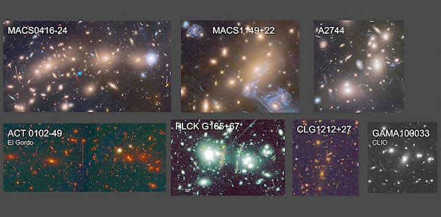 The astronomers have identified numerous galaxy clusters which they plan to monitor for first-generation star events using the Webb Space Telescope and new large ground-based telescopes.  Image credits: Hubble Frontier Fields (J. Lotz, M. Mountain, A. Koekemoer, STScI), RELICS (D. Coe, STScI), B. Frye (Univ. Arizona), C. Conselice and A. Griffiths (Univ. Nottingham, UK), and A. Zitrin (Univ. Beer-Sheva, Israel)