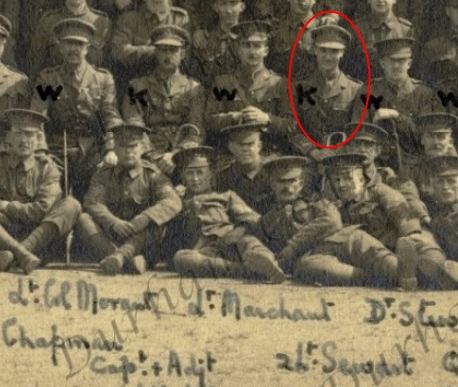 Photograph from Colonel HHS Morant's memoirs showing himself, and Second Lieutenant Sewart (circled), May 1915 (From D/DLI 7/1230/3 ))
