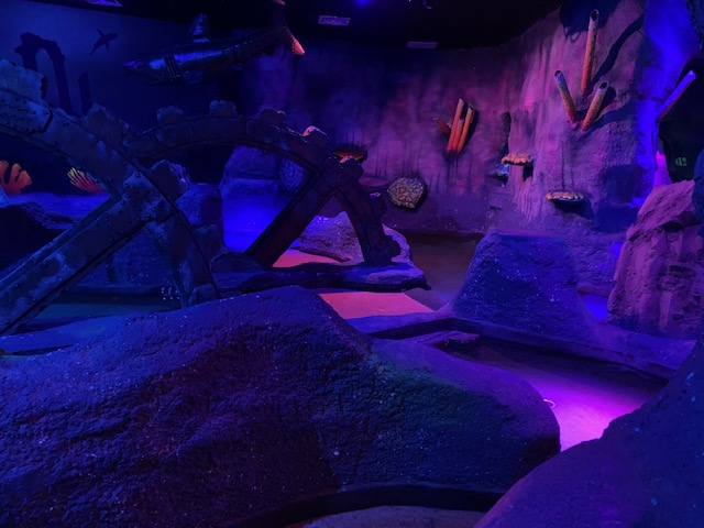 Underwater themed crazy golf course with coral and fish