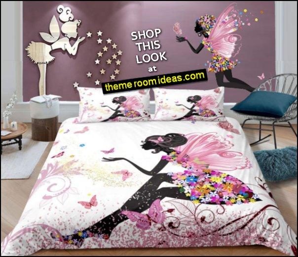 fairy bedding Flower Fairy  wall decal Fairy Stars Wall Stickers fairy bedroom decor