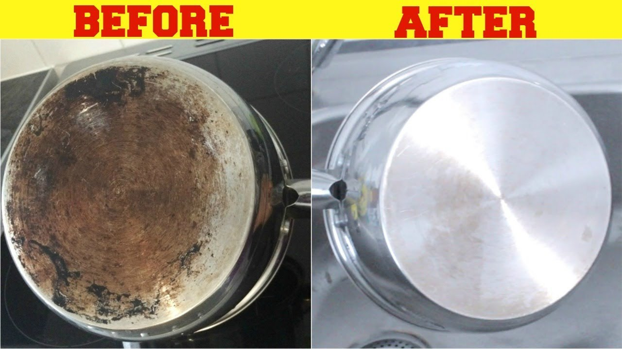 How easy is it to clean old carbon deposits from a frying pan?