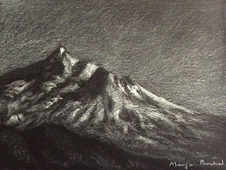 White pastel pencil sketch of a Landscape with mountains and slopes. By Manju Panchal