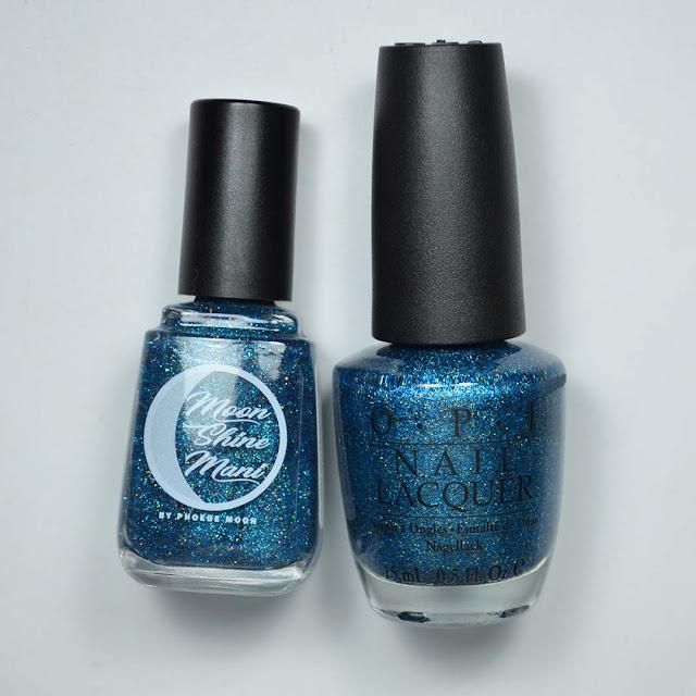 blue micro glitter nail polish comparison