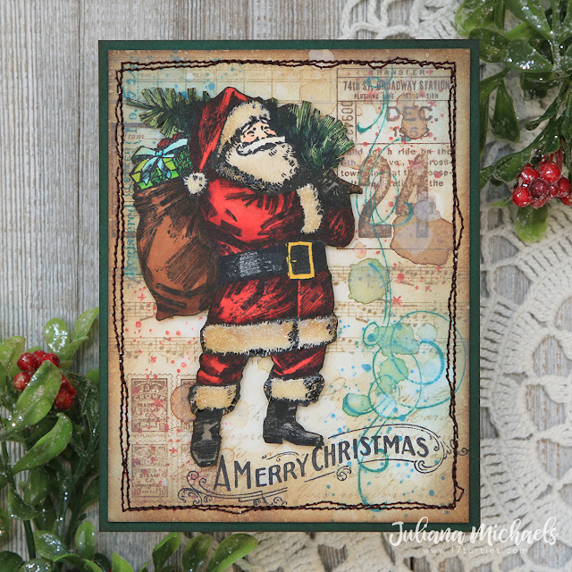 A Merry Christmas Vintage Holiday Card by Juliana Michaels featuring Tim Holtz Vintage Holiday and The Poinsettia Stamp Set