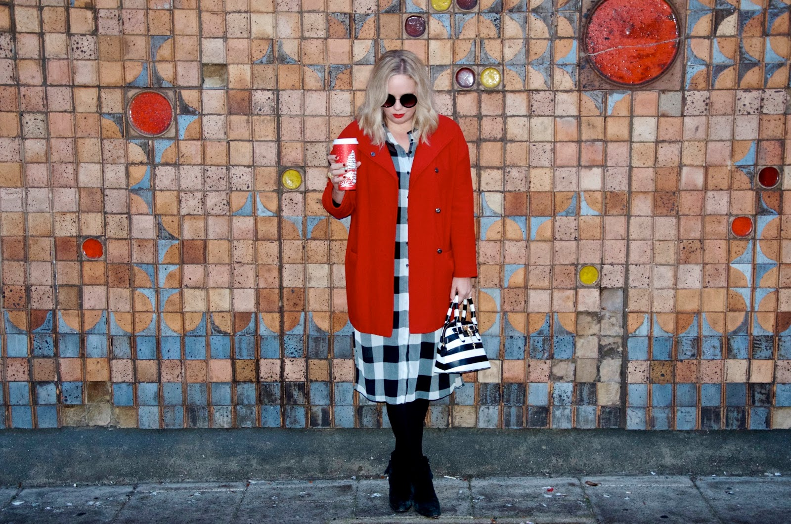 Red Coat, Striped Bag and Checked Dress