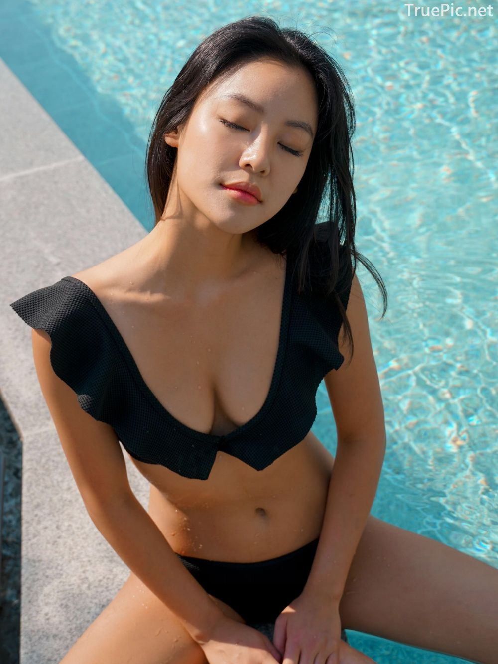 Korean model and fashion - Choi Seok Yeong - Alice Black and Blue Bikini - Picture 9