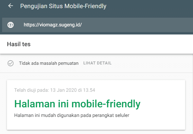 Vio Magz - Hasil tes mobile-friendly Google
